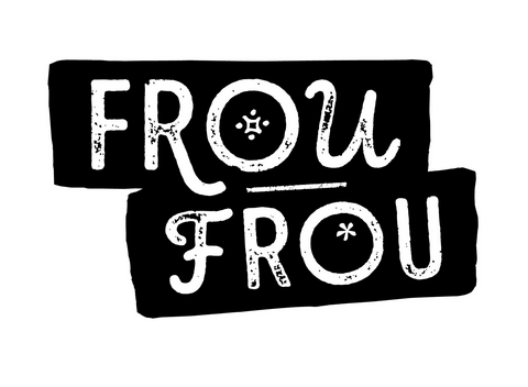 Frou Frou Logo with words in black writing