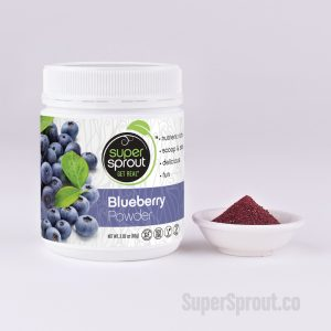 Container of Super Sprout Blueberry Powder