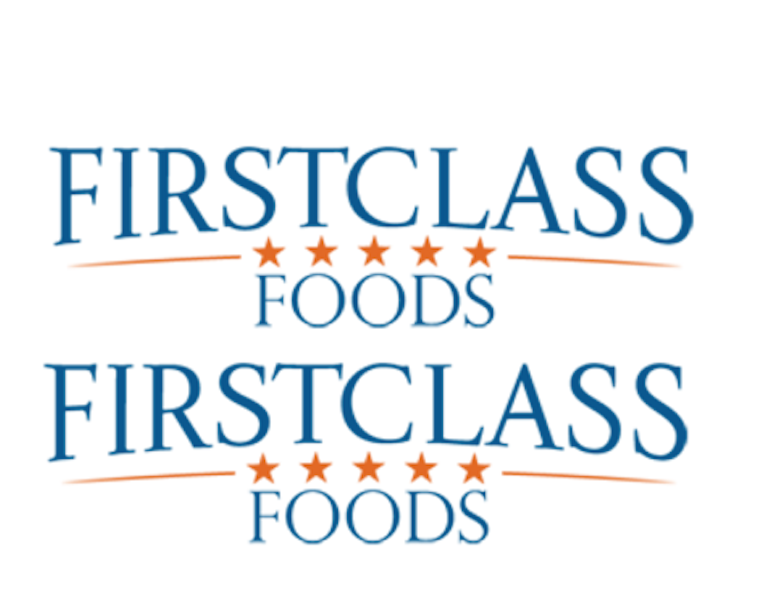 first class foods logo in text form with red stars