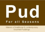 The words Pud on brown background
