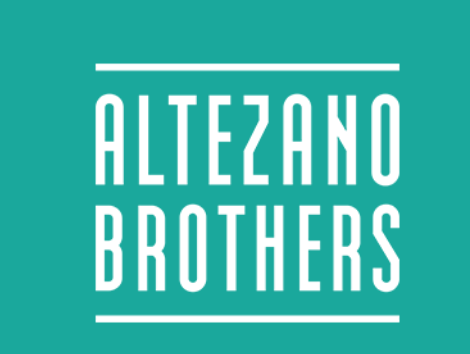 The words Altezano Coffee in light aqua background