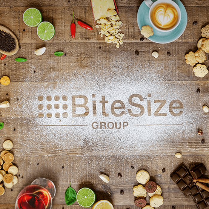 bite size logo with colorful foods