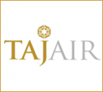 the worlds taj air with a gold emblem on top of the lettet j