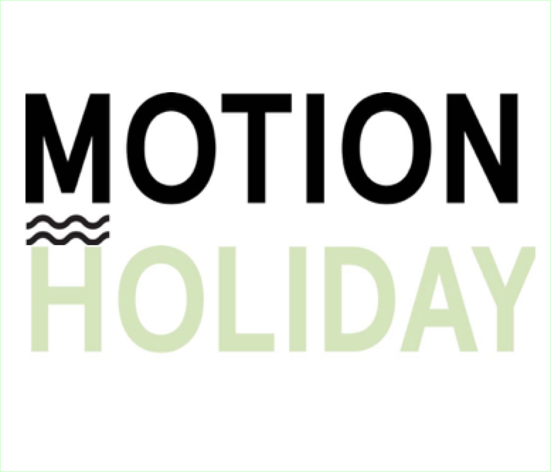The words Motion Holiday in the colore black and mint