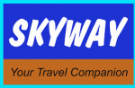 blue and brown logo for skyways travel