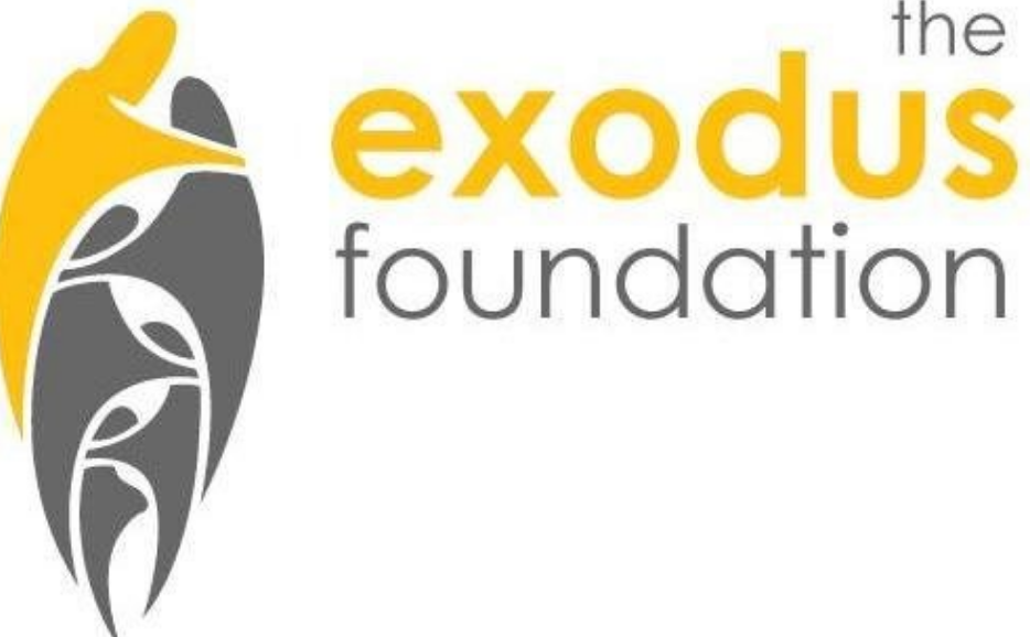 the words exodus foundation in yellow and gray