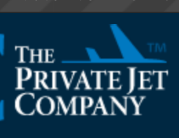 Image of blue jet flying next to the words The Private Jet Company