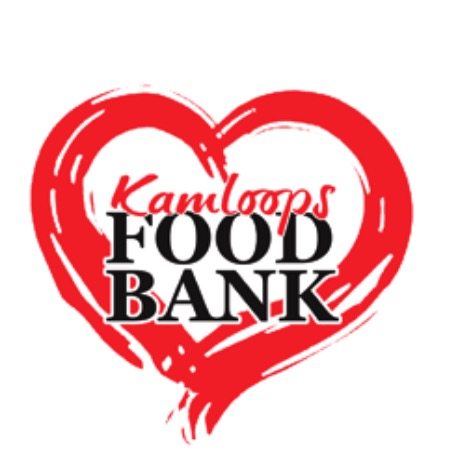 The words kamloops food bank in a red love heart