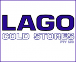 blue logo lago cold storage in large font