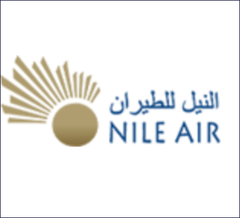 The words Nile Air written in English and Egyptian alongised the nile air logo