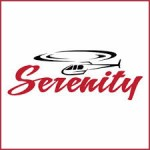 cartoon image of helicopter flying over the words serenity