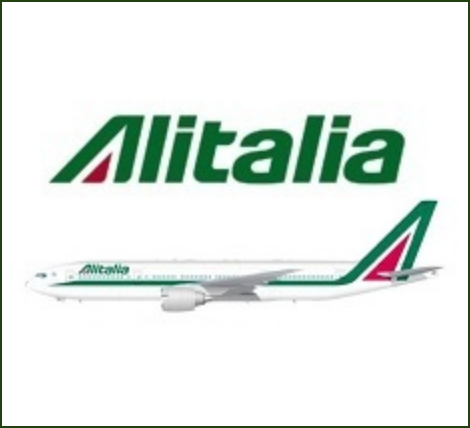 Alitalia Airlines Logo with image of alitalia aircraft