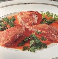 recipe for red peppers stuffed with cod on service plate