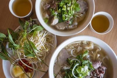 bolws of vietnames noodle soup