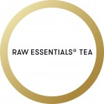 The words raw essentials tea in a gold circle