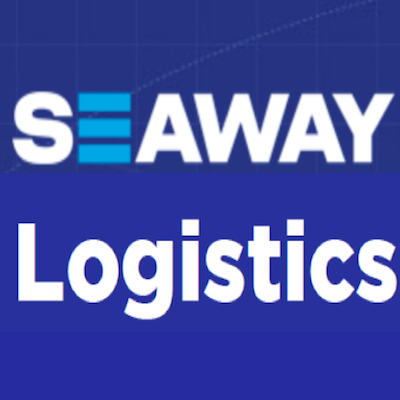 Seaway Logistics Logo on blue background with white writing